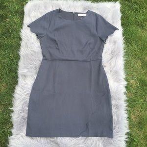 NWT Loft Coastal Gray Scalloped Wrap Dress Size 14